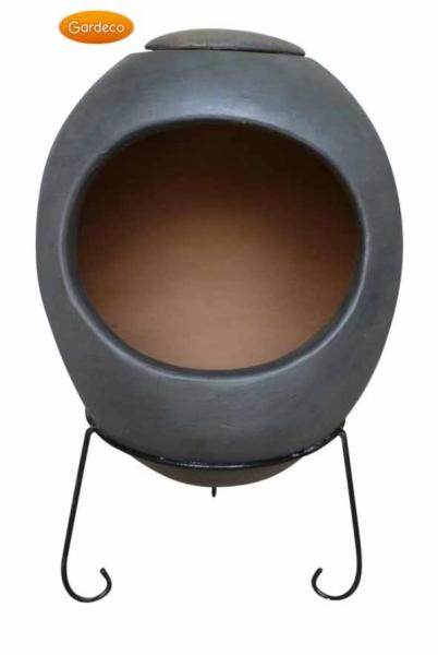 Ellipse Extra Large Mexican Chimenea -Anthracite Grey - Contemporary Range