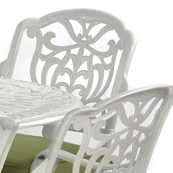 LeisureBench - Cast Aluminium Tudor Large Oval Table and Chair Set Speckled Egg Shell