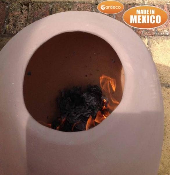 Ellipse Extra Large Mexican Chimenea -Rose  - Contemporary Range