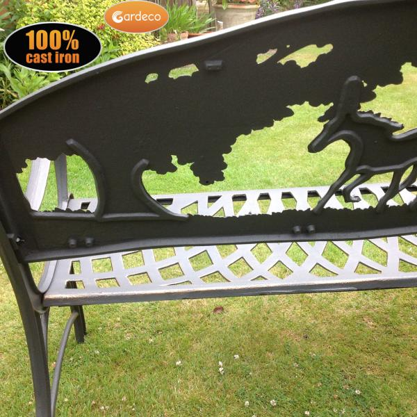 Gardeco 100% Cast Iron Bench (with Horses And Tree)