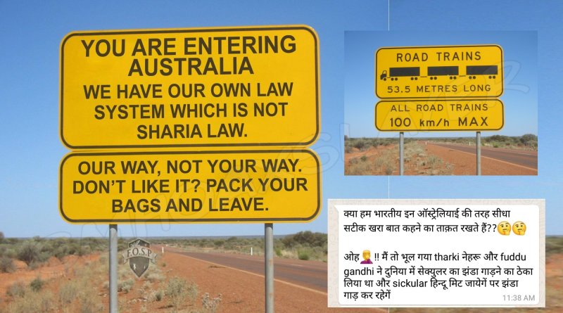 Did Australia put up a communal signboard on it's border ?