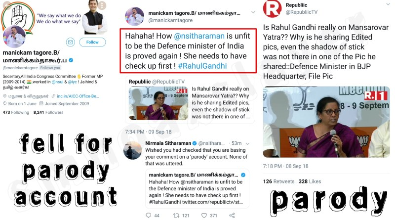 When Congress AICC Secretary fell for a parody account to make fun of our Defence Minister.