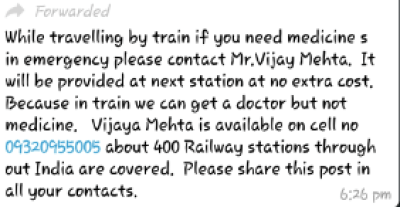 0fdd7650ab29d The message claims that a man named Vijay Mehta is providing medicines  without any extra cost if someone calls on the number given phone number.