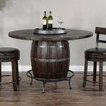 Homestead Round Wine Barrel Base Pub Table Set By Sunny Designs Furniturepick