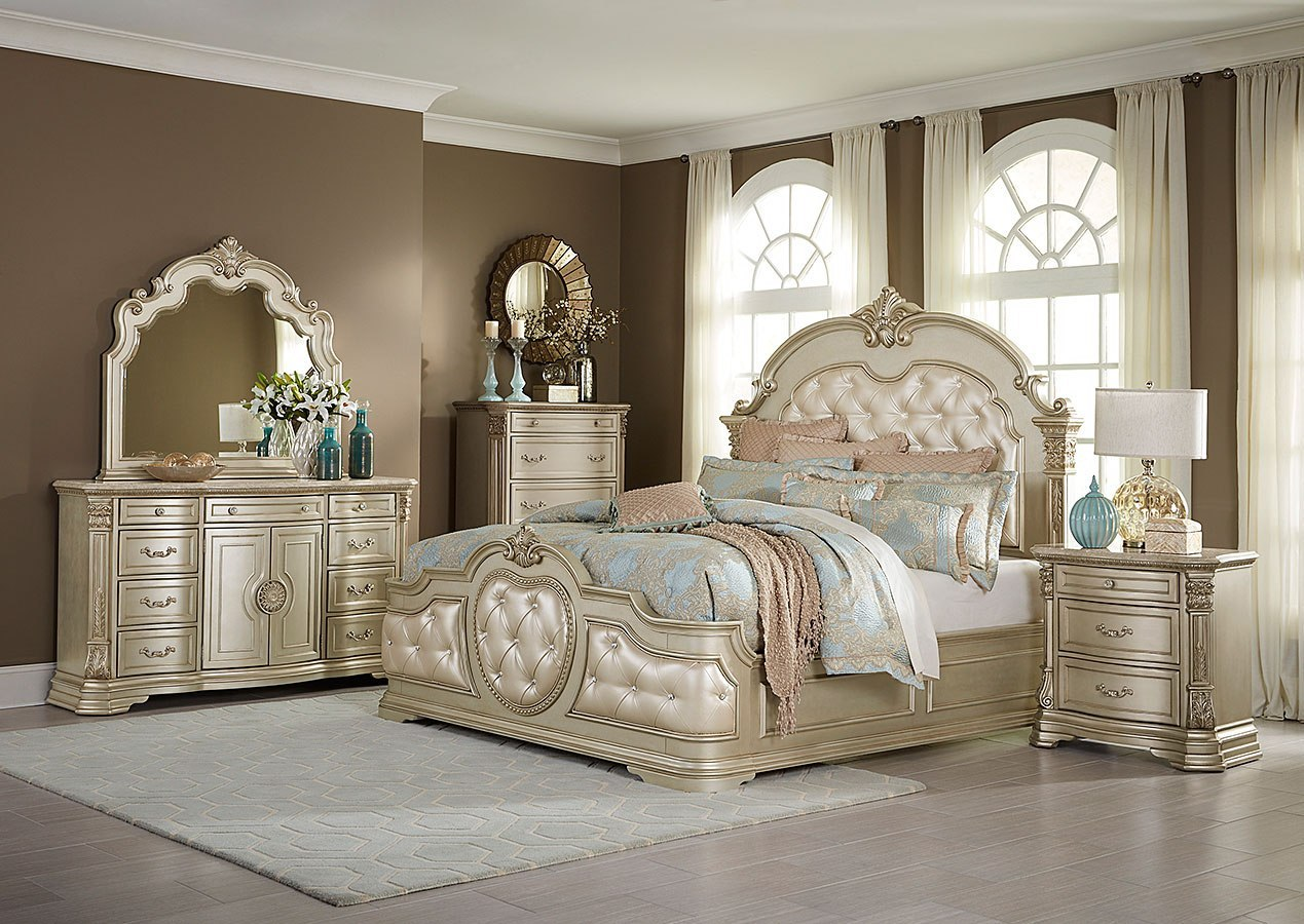 Antoinetta Panel Bedroom Set Champagne By Homelegance Furniturepick