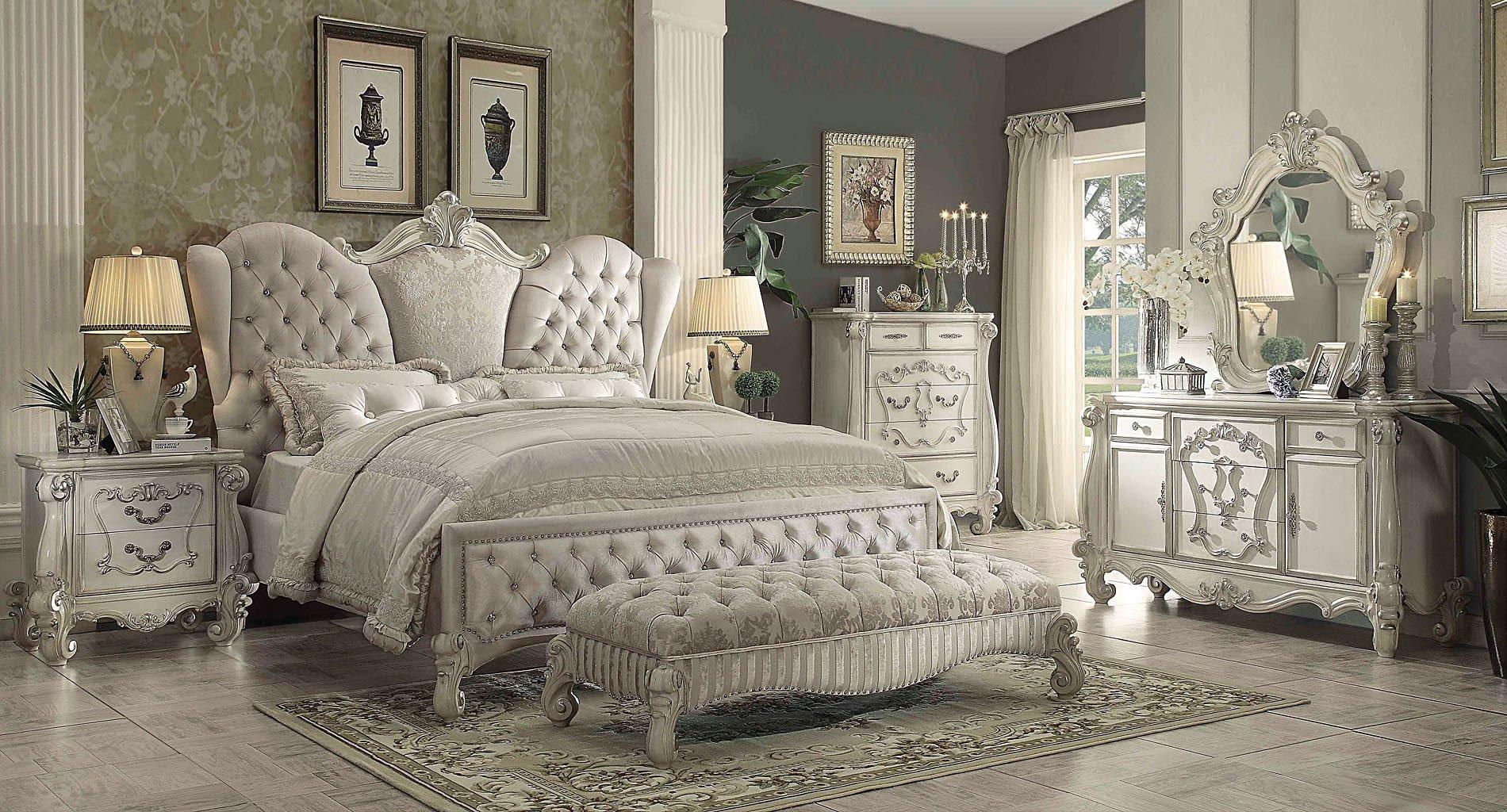 versailles upholstered bedroom set w ivory bed