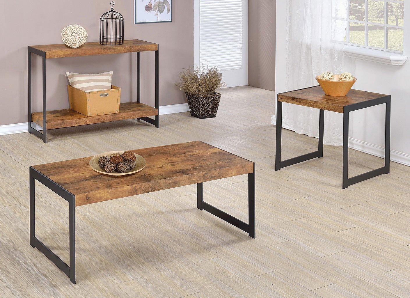 rustic occasional table set w u shaped legs