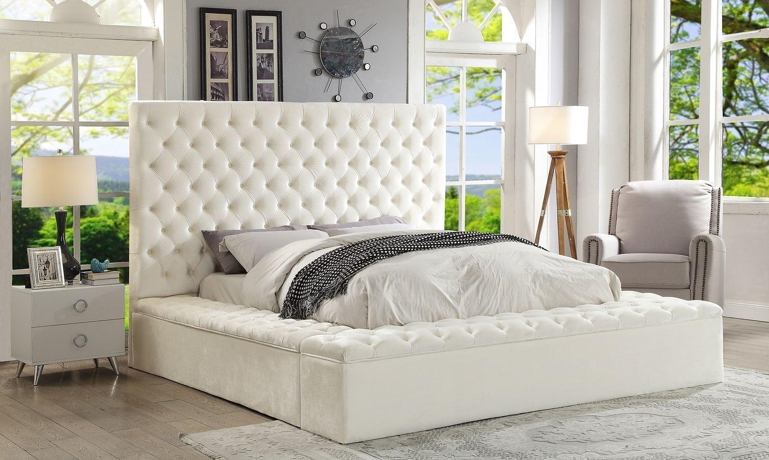 Bliss Upholstered Platform Storage Bed White By Meridian Furniture Furniturepick