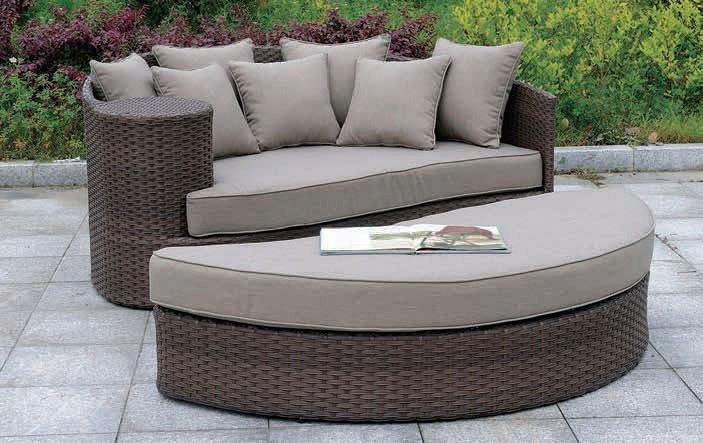 calio round patio sofa and ottoman brown