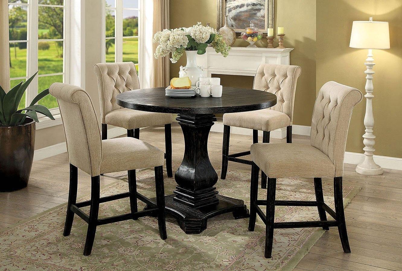 Nerissa Counter Height Dining Set W Beige Chairs Antique Black By Furniture Of America Furniturepick