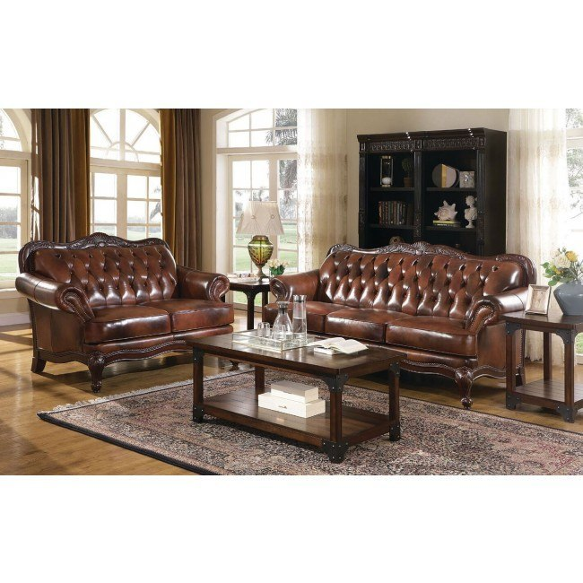 Victoria Leather Living Room Set Coaster Furniture Furniturepick
