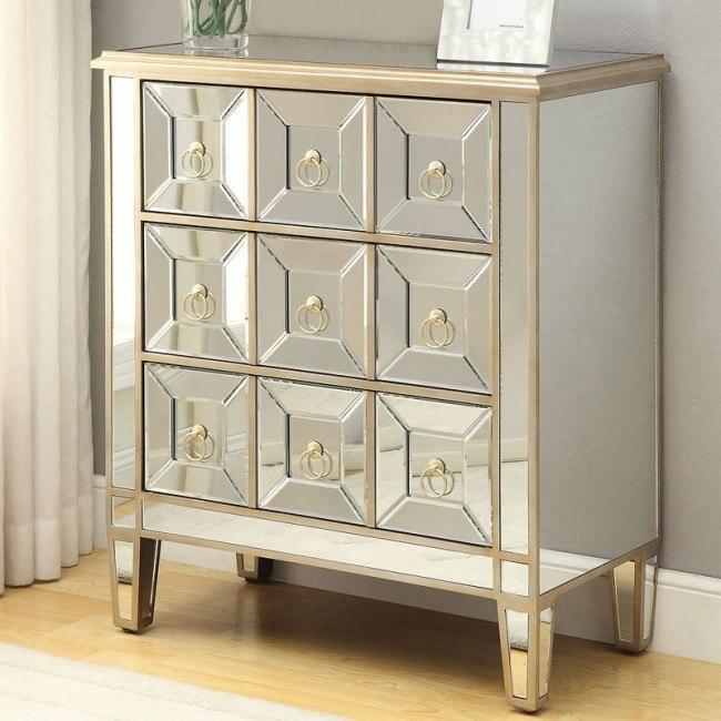 mirrored accent cabinet w gold trim