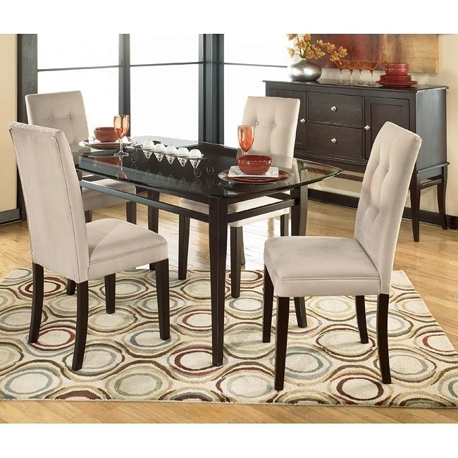 Newbold Glass Top Dining Room Set With 4 Chair Options Signature Design By Ashley Furniture Furniturepick