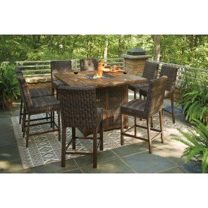 paradise trail outdoor fire pit bar table set