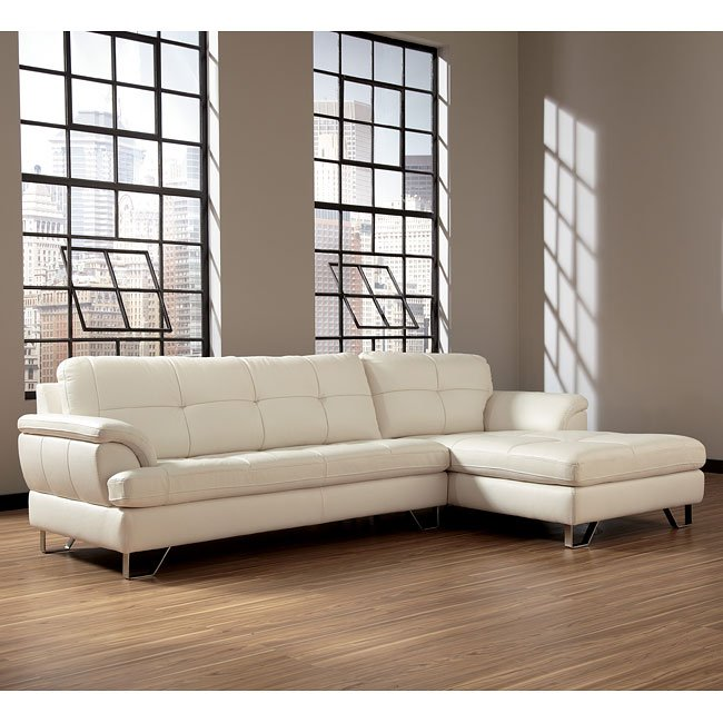gunter brilliant white sectional w right facing chaise