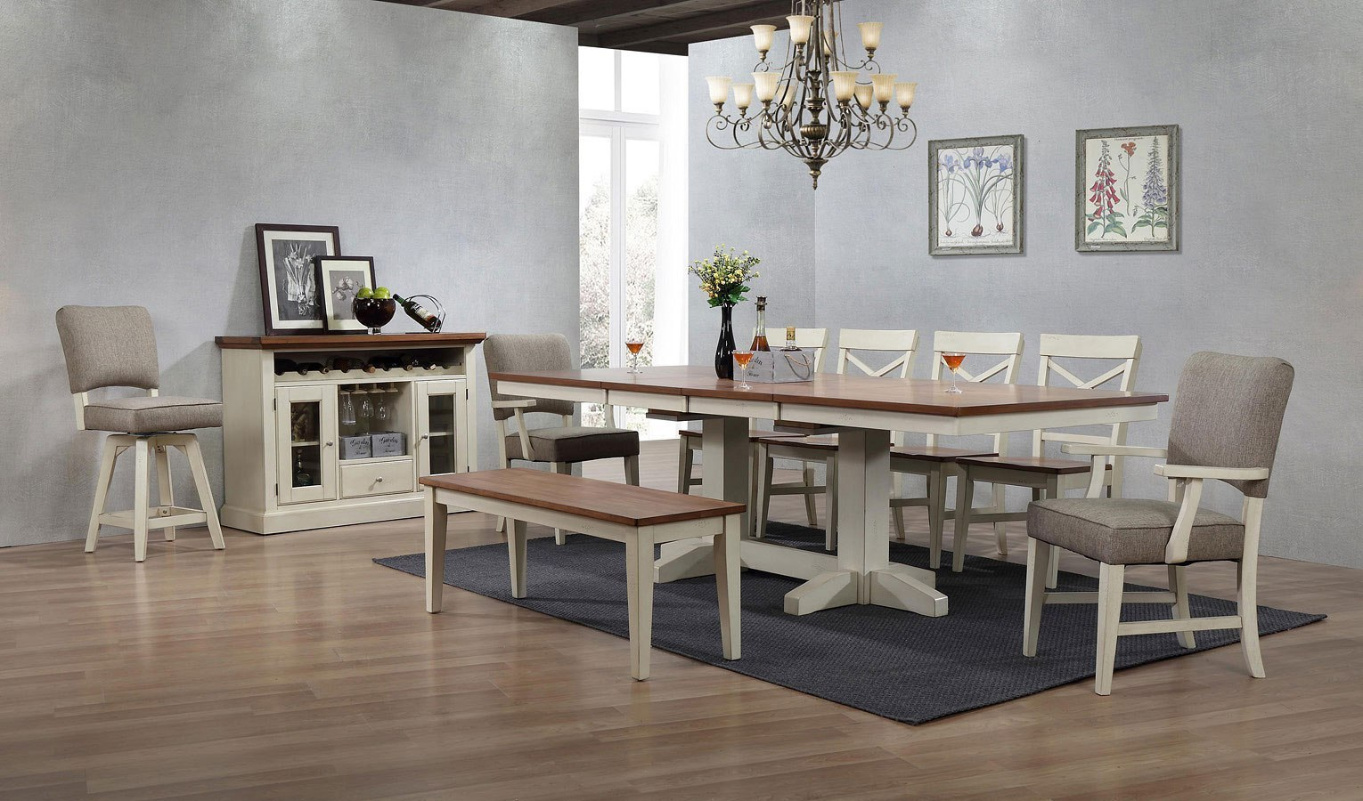 Antique White Trestle Dining Room Set by ECI Furniture