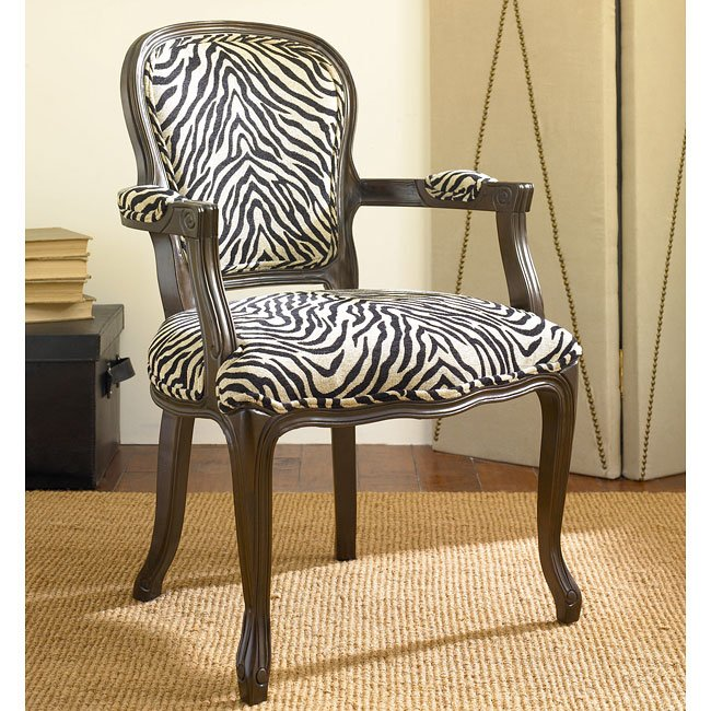 Hidden Treasures Zebra Print Accent Chair  Accent Chairs