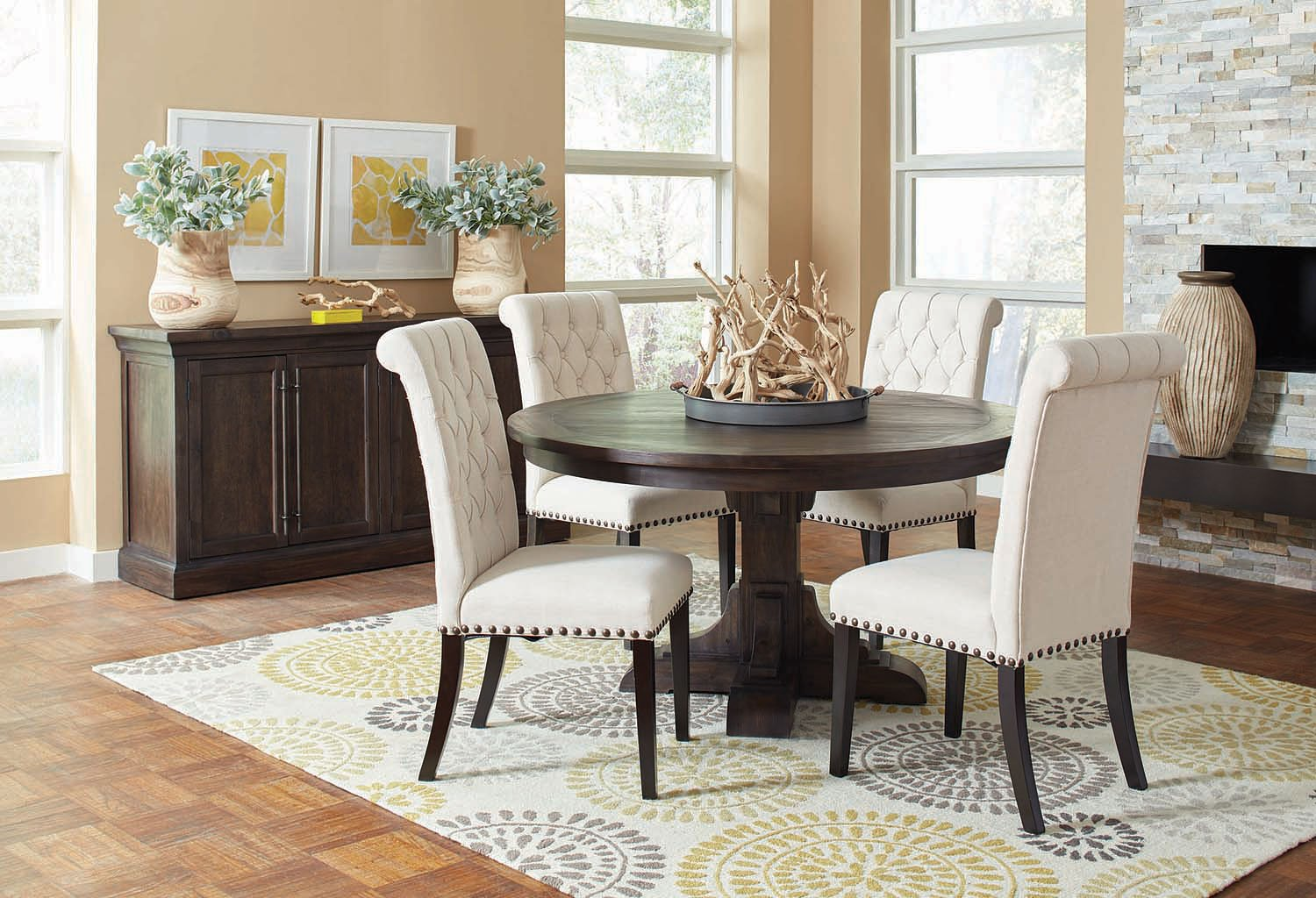 Weber Round Dining Room Set w Cream Chairs by Coaster Furniture  FurniturePick