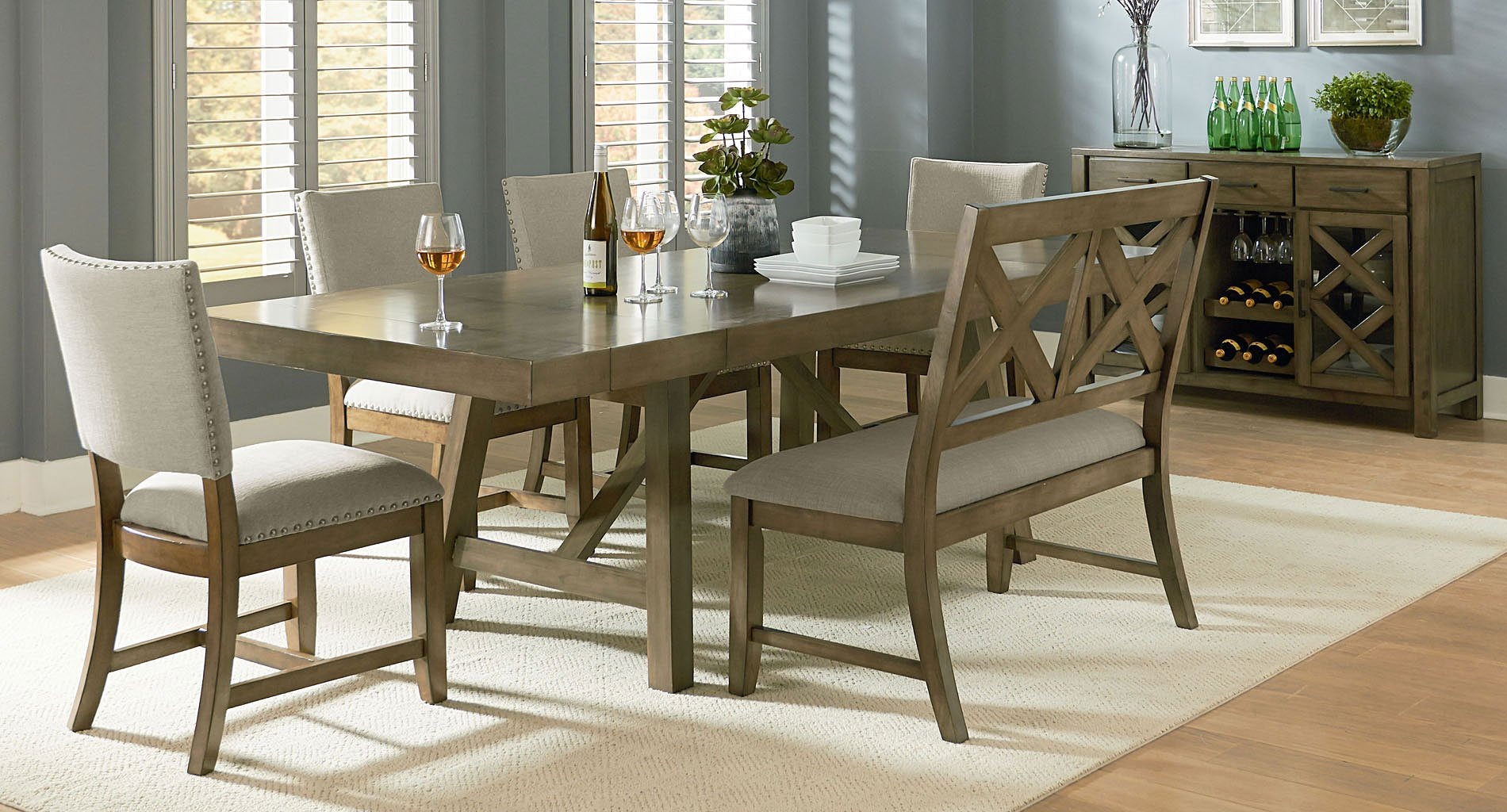 Dining Room Upholstered Chairs Omaha Dining Room Set W Bench And Upholstered Chairs Grey