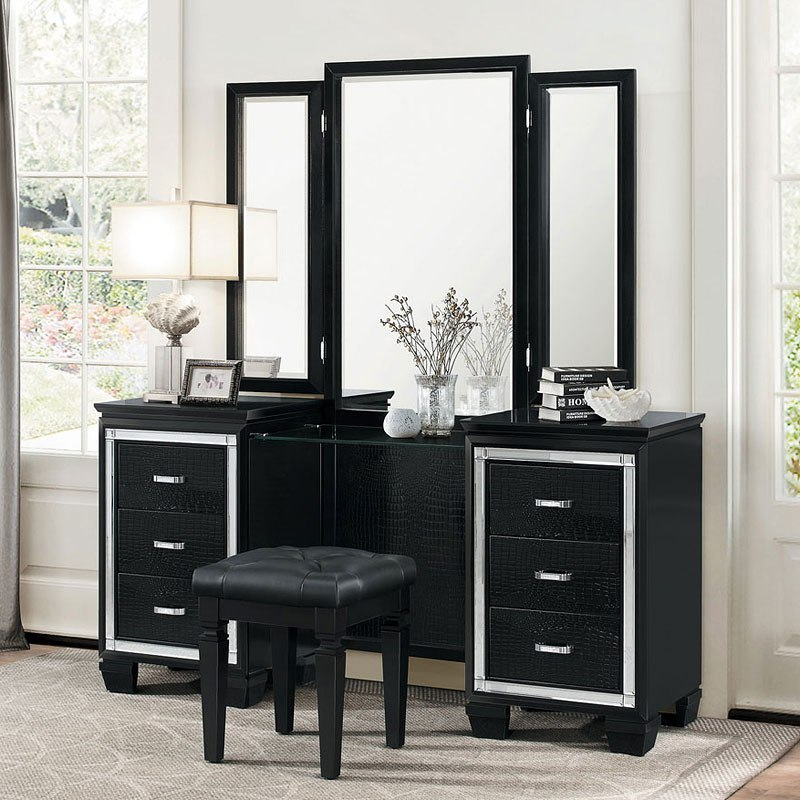 Allura Vanity Dresser w Mirror Black by Homelegance  FurniturePick