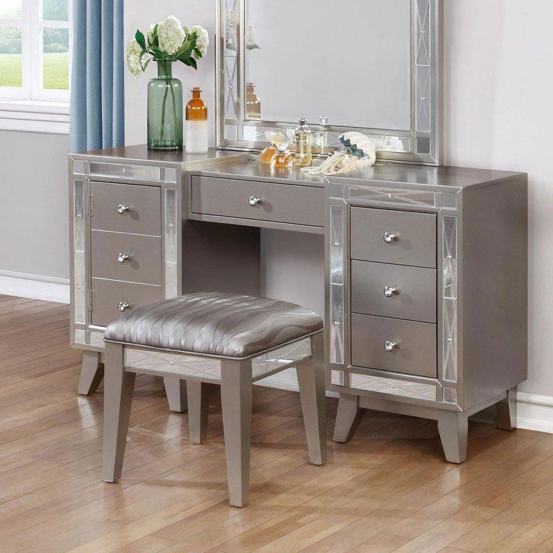 Leighton Vanity Desk w Stool  Bedroom Vanities  Bedroom