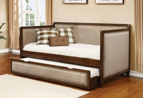 Oatmeal Fabric Daybed With Trundle Coaster Furniture