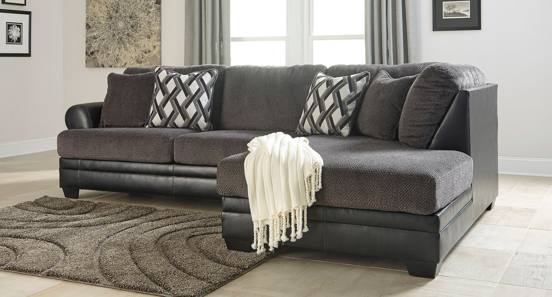 Kumasi Smoke Right Chaise Sectional Sectionals Living