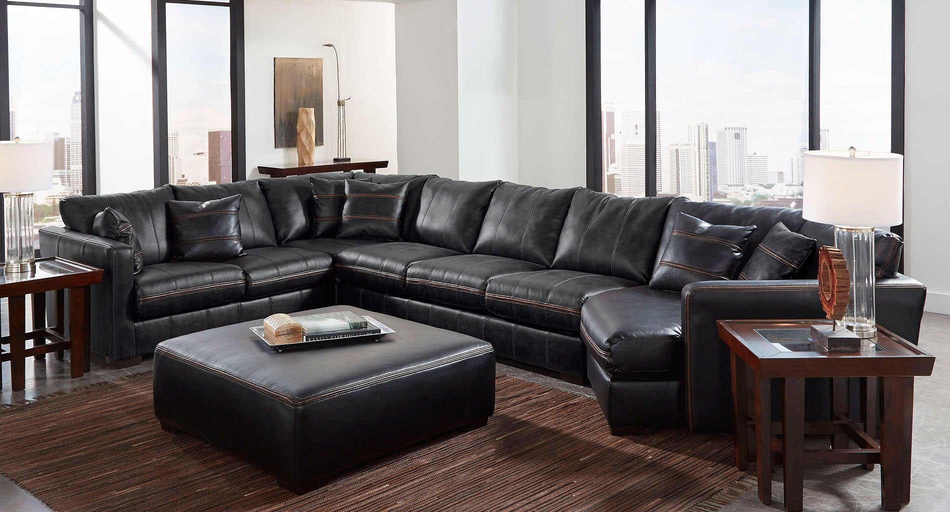 Tucker Modular Sectional w Piano Wedge Black  Sectionals  Living Room Furniture  Living Room