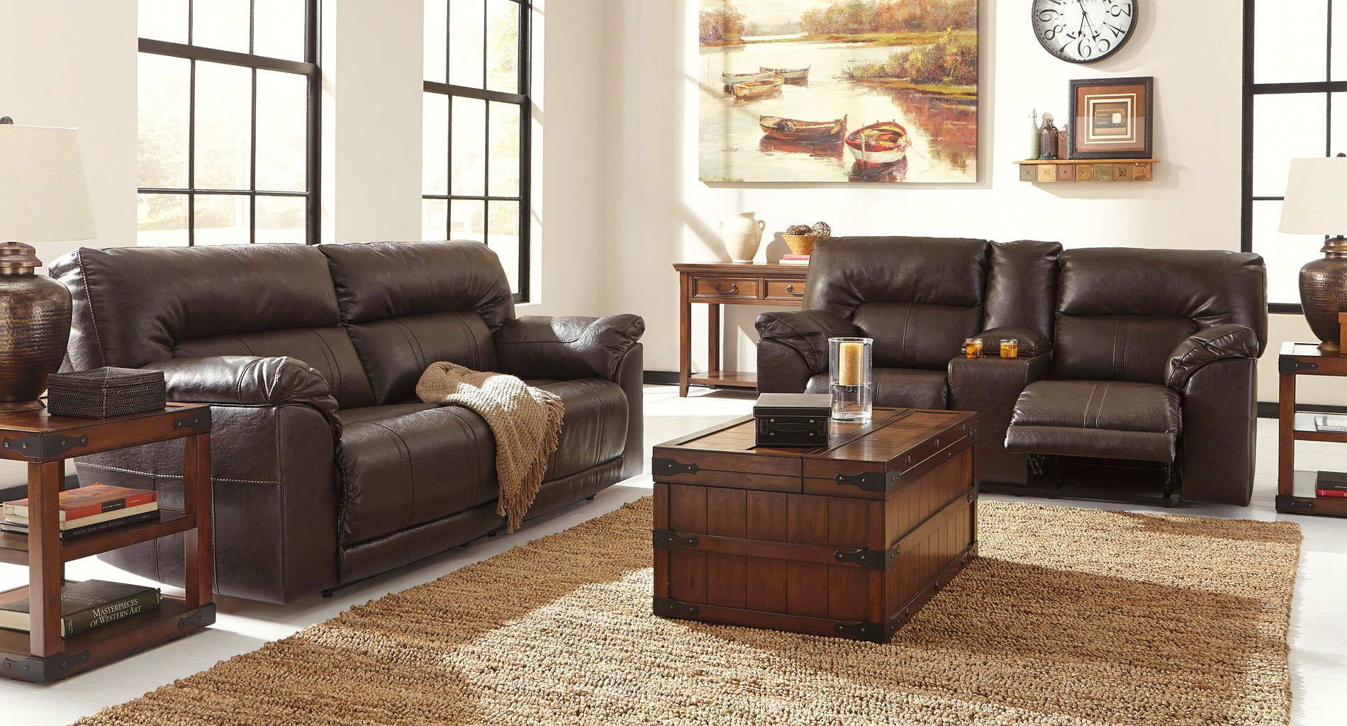 recliner living room set ceiling beams barrettsville durablend chocolate reclining by