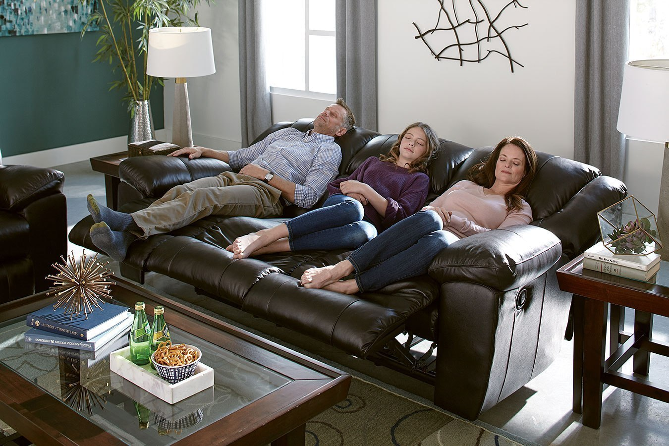 triple reclining sofa buy corner online uk transformer ii power w drop down table chocolate italian leather by catnapper furniturepick