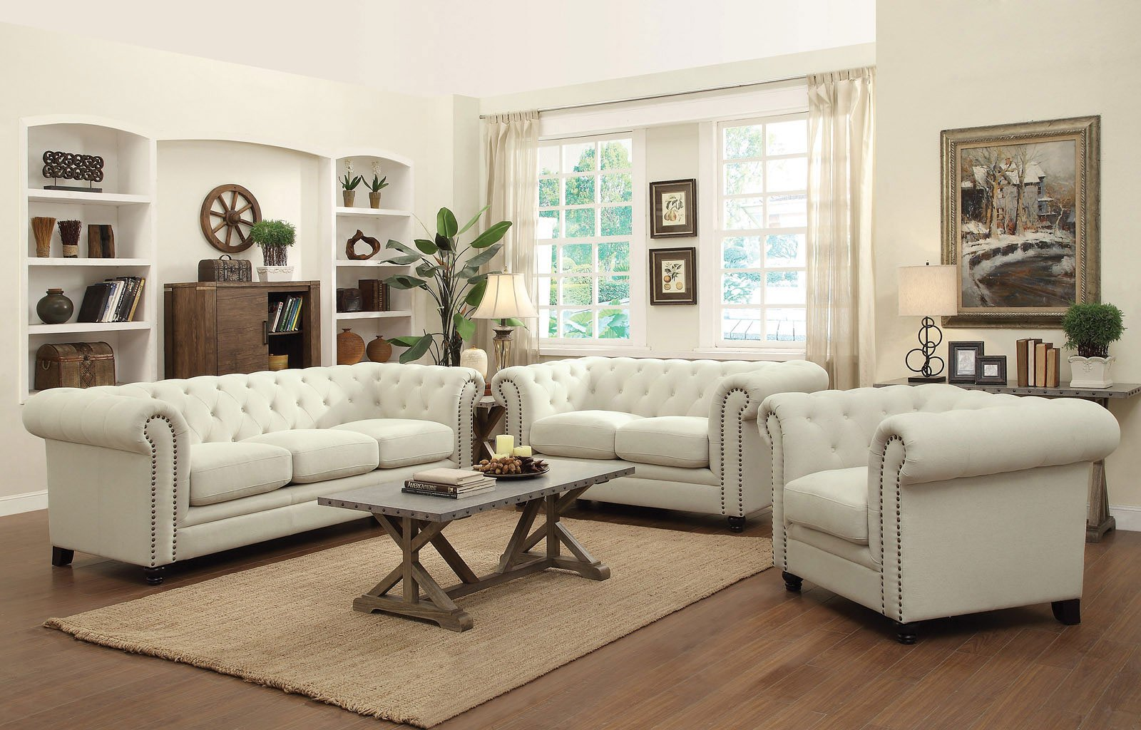 Roy Living Room Set Oatmeal by Coaster Furniture 2