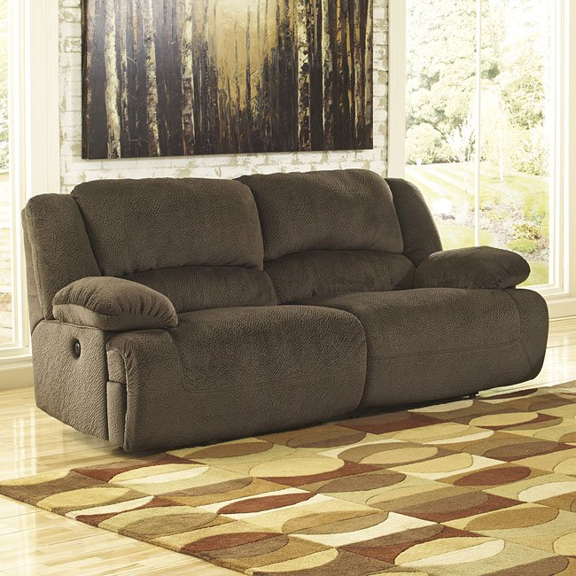 Toletta Chocolate Reclining Power Sofa Signature Design by