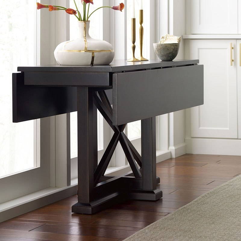 Everyday Peppercorn Drop Leaf Console Dining Table by