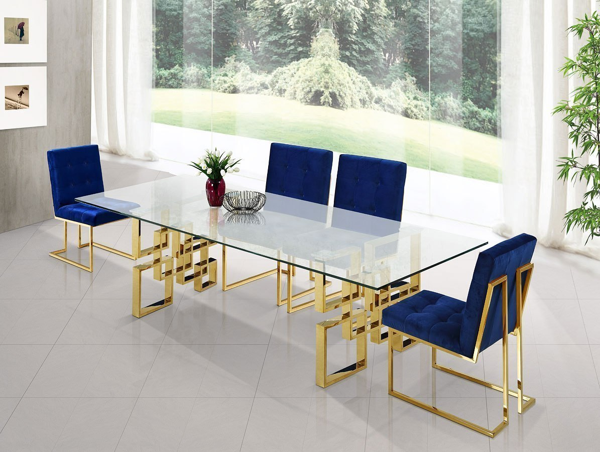 hight resolution of pierre dining room set w navy chairs by meridian furniture furniturepick