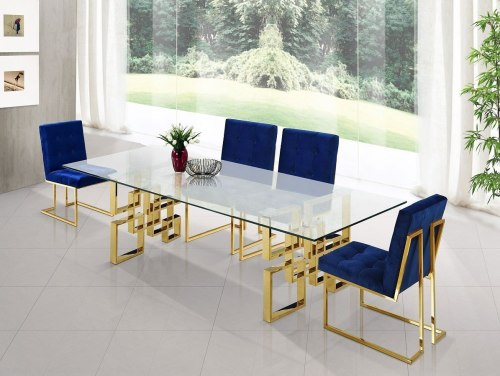 small resolution of pierre dining room set w navy chairs by meridian furniture furniturepick