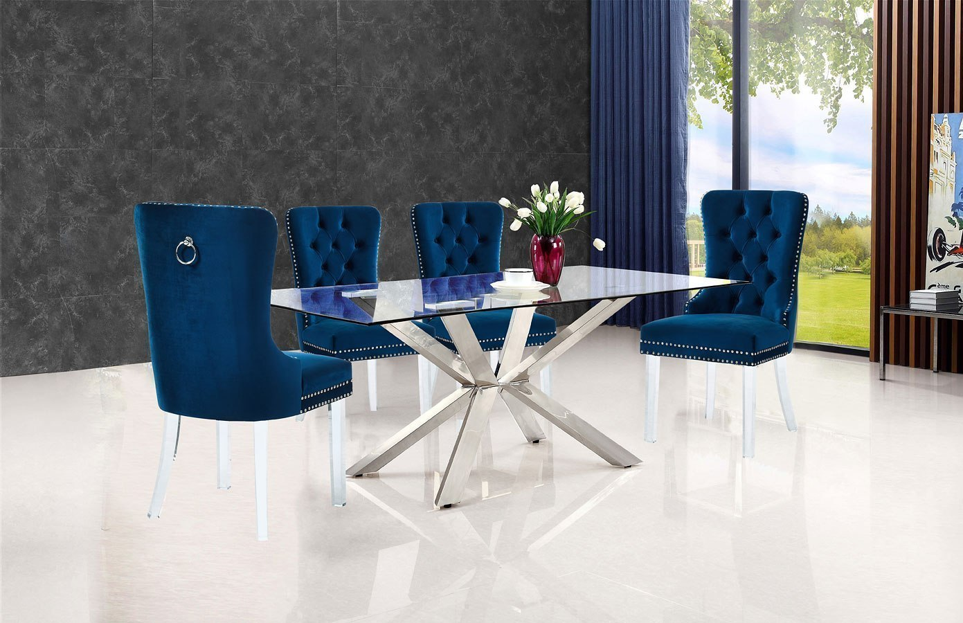 hight resolution of juno dining room set w navy miley chairs by meridian furniture furniturepick