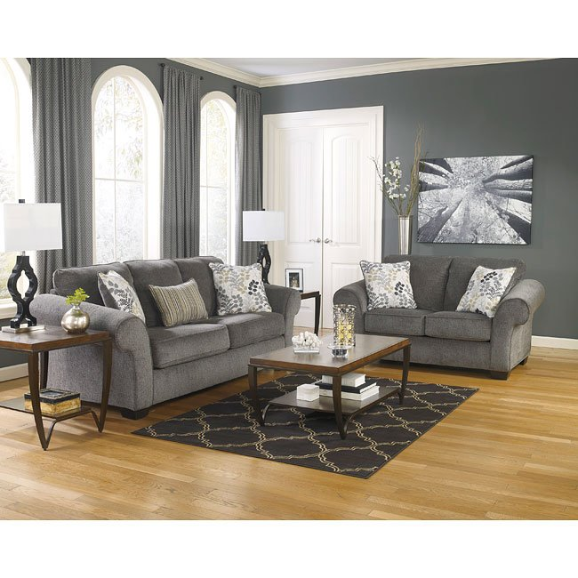 Makonnen Charcoal Living Room Set Signature Design By