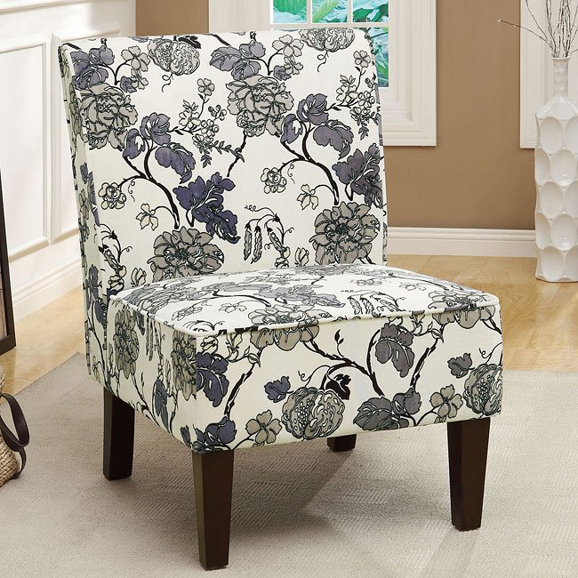 Gray Floral Print Accent Chair Coaster Furniture