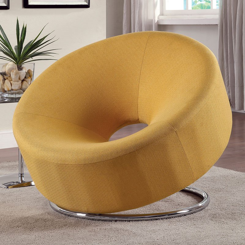Donut Shaped Accent Chair Yellow by Coaster Furniture
