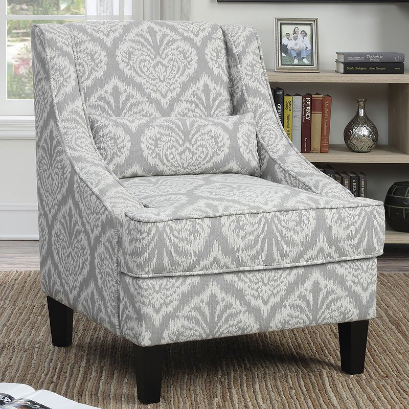 Grey and White Pattern Accent Chair  Accent Chairs