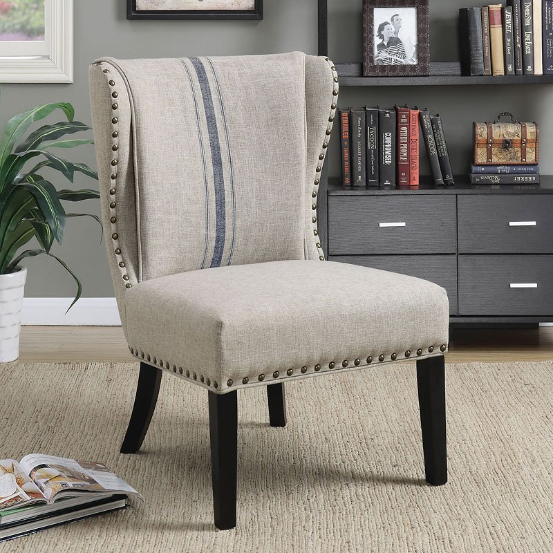 Wingback Accent Chair w Nailhead Trim  Living Room