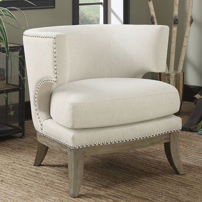 Barrel Back Design Accent Chair White  Accent Chairs