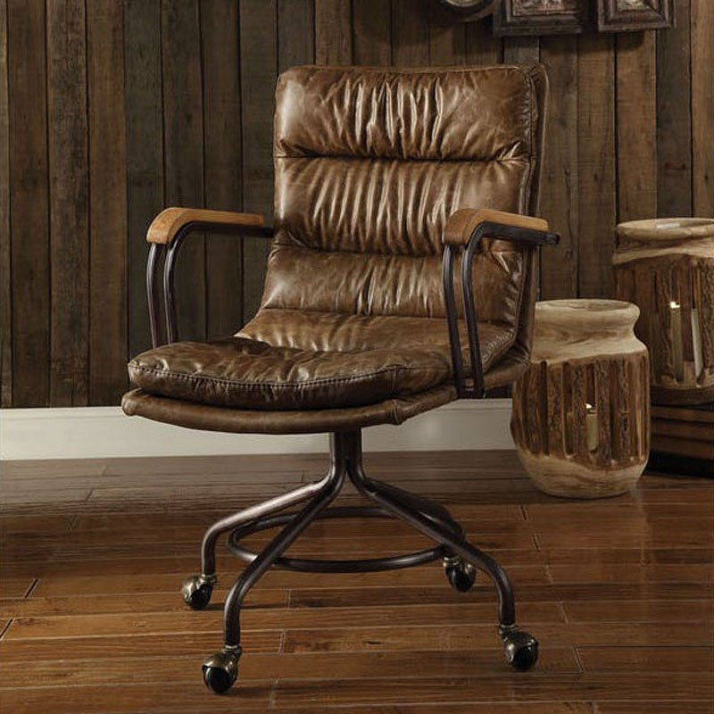 harith high back leather executive chair indoor rattan cushions office vintage whiskey by acme furniture furniturepick