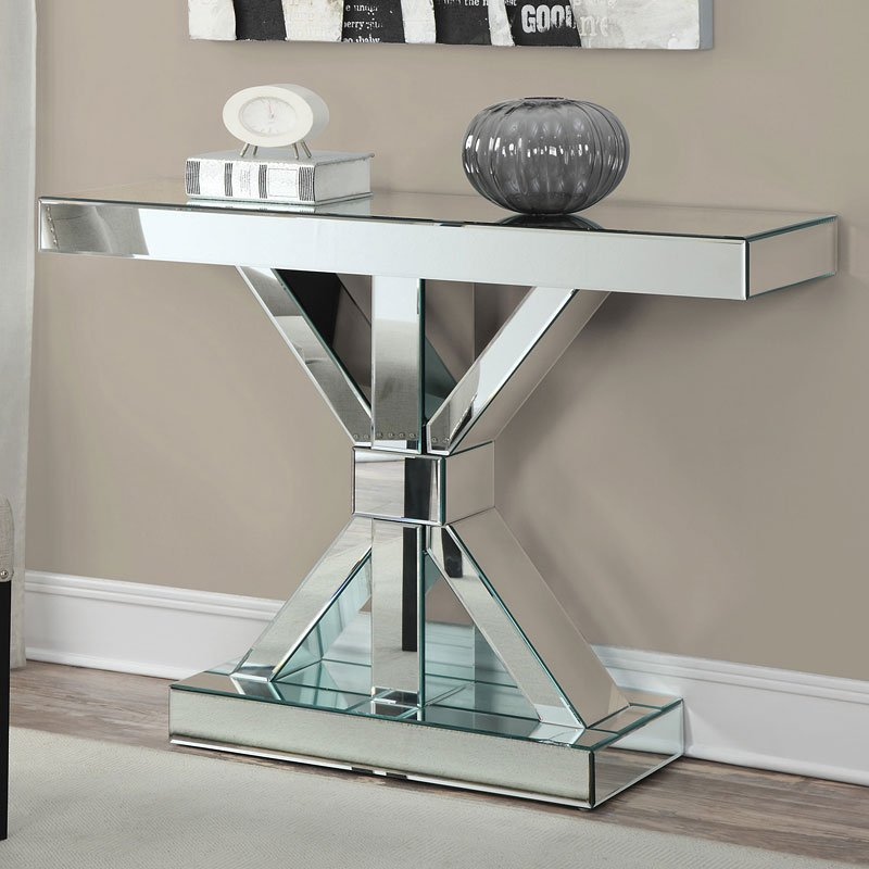 Mirrored Console Table w Xbase  Sofa Tables