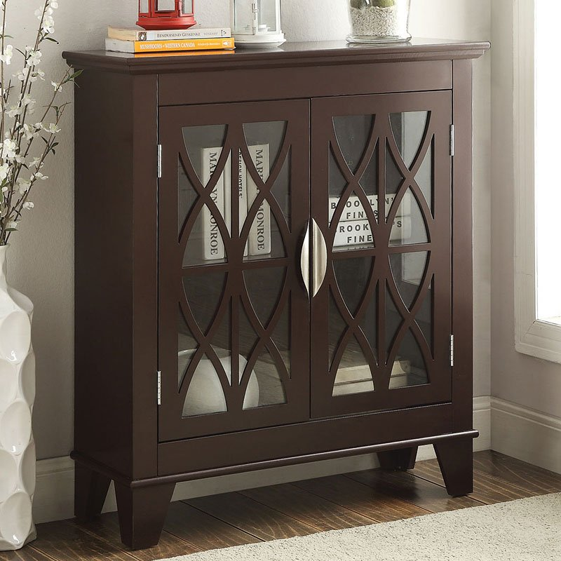 Accent Cabinet w Glass Doors Brown by Coaster Furniture