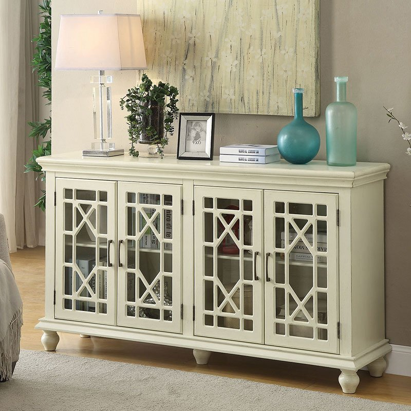 Lattice Doors Accent Cabinet Antique White  Accent Chests and Cabinets  Occasional and