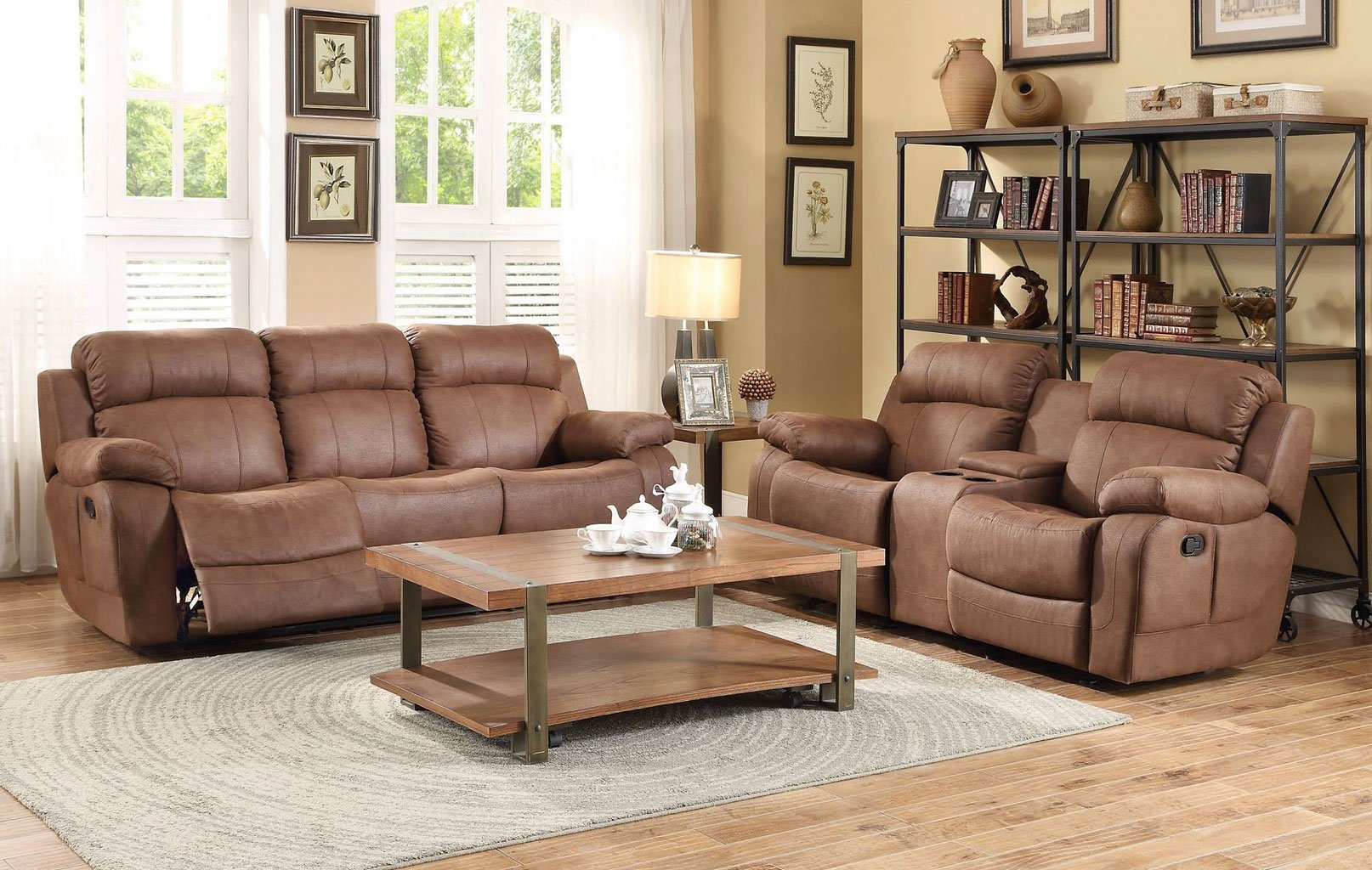 Double Recliner Chair Marille Double Reclining Living Room Set Dark Brown