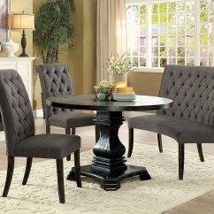 Round Living Room Set Pendant Light Nerissa Dining W Gray Chairs Antique Black