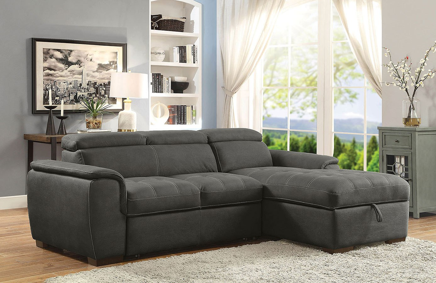 Patty Sectional w Pull Out Sleeper Graphite by