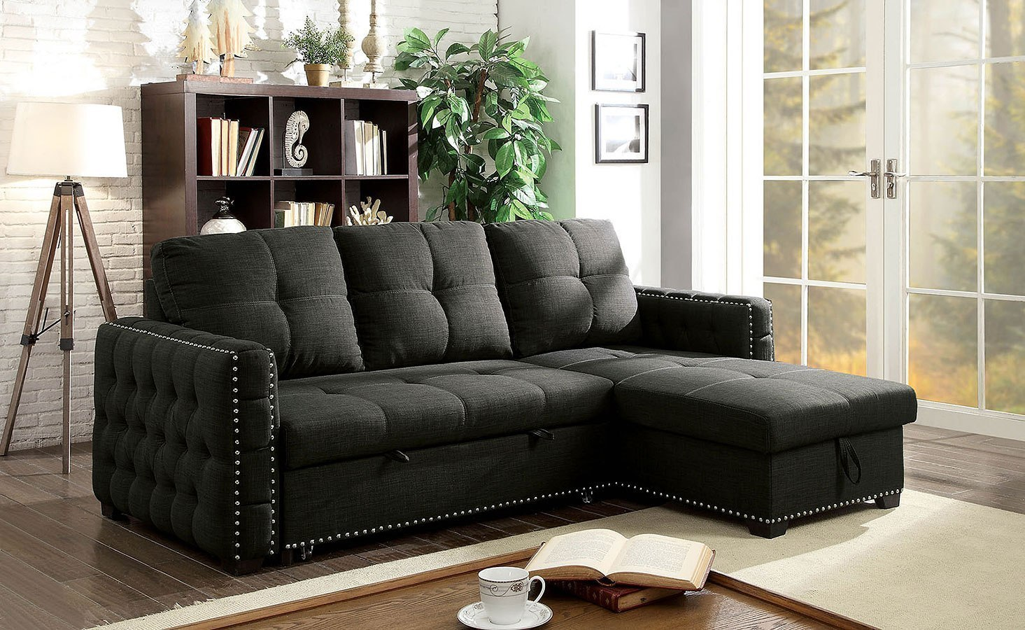 Demi Sectional w Pull Out Sleeper by Furniture of America